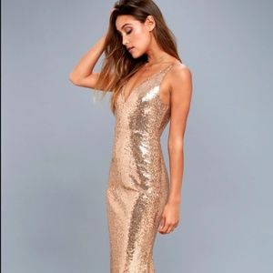 Here to Wow Gold Sequin Maxi Dress